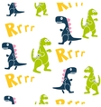Blue and green dinosaurs kid seamless vector image