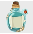Blue old bottle with a note isolated image vector image