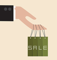 Businessman hand hang with discount tag vector image vector image