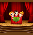 cartoon of children choir performing on stage vector image vector image