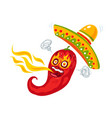 cartoon red chili with fire vector image vector image