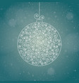 christmas ball on a winter blurred backround vector image