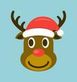 christmas deer in santa hat vector image