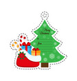 christmas tree and a bag with gifts vector image vector image