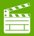 clapperboard icon green vector image vector image