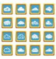 cloud icons set sapphirine square vector image vector image