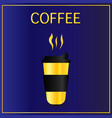 cofee cup icon flat simple gold pictogram on dark vector image