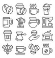 coffee icons set on white background line style vector image vector image
