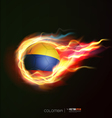 colombia flag with flying soccer ball on fire vector image vector image