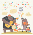cute animal music band vector image