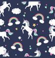 cute seamless pattern with unicorns rainbows vector image