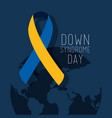 down syndrome day map world ribbon campaign vector image vector image