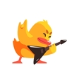 Duckling Playing Electro Guitar Cute Character vector image vector image