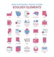 ecology elements icon dusky flat color - vintage vector image
