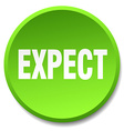 expect green round flat isolated push button vector image vector image
