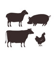 farm animals set farming silhouette vector image