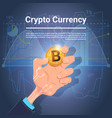hand hold golden bitcoin digital currency crypto vector image