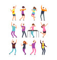 happy young people dancing man and woman cartoon vector image vector image