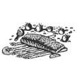 healthy baked salmon on asparagus vector image