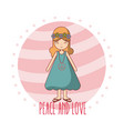 hippie cute cartoon vector image