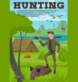 hunting sport banner with hunter animal and bird vector image vector image