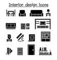 interior decoration furniture icon set vector image vector image
