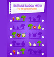 kids game shadow match with cartoon vegetables vector image vector image