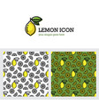 lemon icon and seamless pattern vector image vector image