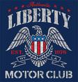 Liberty eagle motor club t-shirt graphic vector image vector image