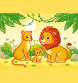 lion family is sitting in african savannah vector image vector image