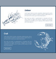 lobster and crab seafood double color graphic vector image vector image