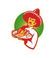 mexican chef serving taco burrito empanada retro vector image