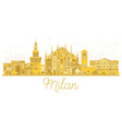 milan italy city skyline golden silhouette vector image vector image