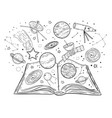 open book with universe planets stars and vector image vector image