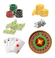 poker chips golden coins with dollar money aces vector image vector image