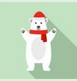 polar bear xmas icon flat style vector image vector image