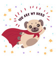 pug in superhero mask and cloakyou are my hero vector image