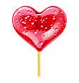 purple lollipop in the shape of a heart design vector image
