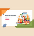 reading people landing page characters with books vector image
