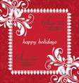 RED FLORAL DAMASK INVITATION CARD vector image