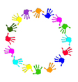 Round colorful hand frame vector image