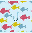 seamless colorful fish background vector image vector image