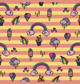 seamless pattern with rainbows vector image