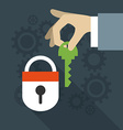 Security concept in flat design style Hand vector image