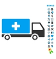 Service Car Flat Icon with Bonus vector image