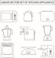 Set of linear kitchen appliances vector image