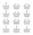 Set of twelve shopping baskets icons vector image vector image