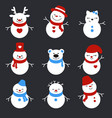set of winter holidays snowman set of winter vector image