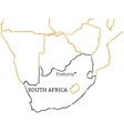 South Africa hand-drawn sketch map vector image