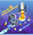 startup entrepreneurship isometric composition vector image vector image